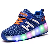 Skybird-UK 7 Colors Changing Upgraded LED Strips Roller Skate Shoes with Wheel Automatic Retractable Technical Skateboarding Shoe Fashion Athletic Cross Trainers Vibration Flashing Gymnastics Sneakers