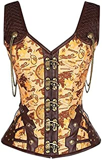 SYMG Classical Court Body Shaper, Retro Gothic Corset Body Shaper, Literary and Drama Style, Elegant and Sexy Slim Body shapewear women (Color : Yellow, Size : L)