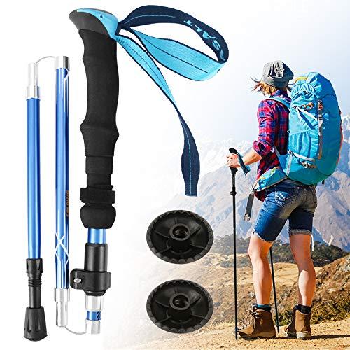 Idefair Bastoncini da trekking,Bastoncini da trekking pieghevoli Bastoncini da trekking da passeggio in alluminio Bastoncini da trekking leggeri da escursionismo Bastone da passeggio (Blu, 2 PACK)