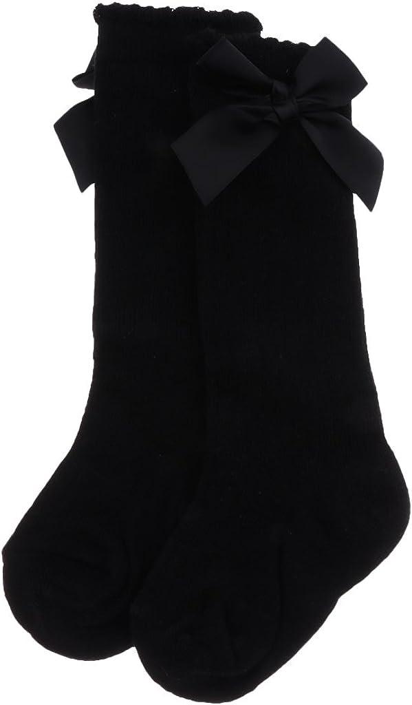 Sharplace Baby Girls Knee High Spanish Style Plain Ribbed Socks Infant Bow Stockings 0-4Y