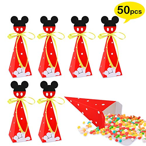 50 PCS Mouse Candy Boxes, Mouse Goodie Gift Bags for Kids Birthday Party Supplies Baby Shower Theme Party Decorations