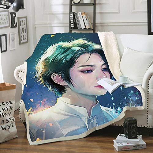 AZSOGOOD Manta de Viaje de Franela Patrón de impresión 3D BTS, Utilizado para Decorar la Manta del sofá en la Sala de Estar, Manta cómoda Rodilla-mi_150x200cm * 1