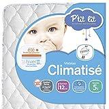 P'tit Lit - Matelas bébé Climatisé - 60 x 120 x 12 cm - Eté Hiver - Anti-acariens - Premium - Fabrication française