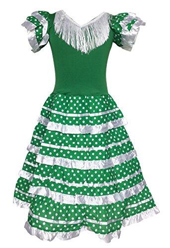 La Senorita Vestido Flamenco Español Traje de Flamenca Chica/niños Verde Blanco (Talla 12, 140-146 - 95 cm, 9/10 años, Verde)