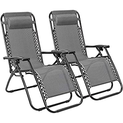 Furmax Zero Gravity Chair Outdoor Lounge Patio Chairs with Pillows,Adjustable Folding Recliners for Pool Side Outdoor Yard Beach Set of 2