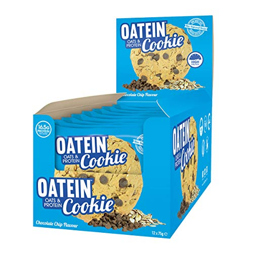 Oatein Cookie (12 x 75g) – High Protein Cookie Bar With Oats Complex Carbohydrate Healthy High Fibre Vegetarian Snack Cookies – Milk Chocolate Chip
