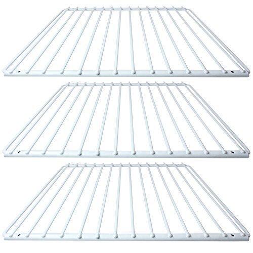 SPARES2GO kunststof gecoate verstelbare plank rek voor IKEA koelkast vriezers (wit, pak van 3)