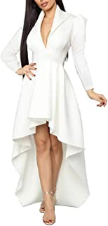 Loyomobak Women Formal Dresses Club High Low Deep V Neck Long Sleeve Maxi Dress