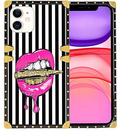 Square Case for iPhone 11 Pink Lips in Bullet Women's Luxury TPU with Metal Rivet Frame Protective Back Cover Case for iPhone 11 Case