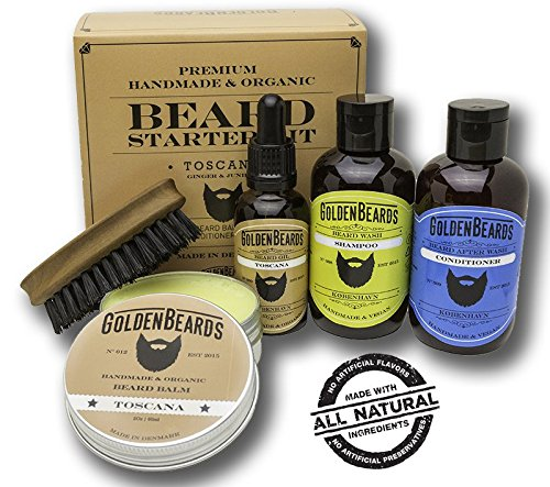 Kit Cuidado de Barba Kit 1 Caja de Regalo que contiene:1 Champú & Acondicionador 1 Aceite 1 Bálsamo y un Peine de viaje de máxima calidad. Olor a Ginger y Junípero (Olor Seca) Toscana Golden Beards