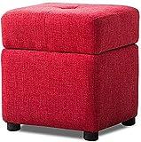 HYYDP Otomanas y reposapiés Asiento de descanso asiento bajo taburete tapizado pies taburetes y pouffes con almacenamiento otomanos cajas de cubitos tela de lino tela de salón sillones silla 4 patas d