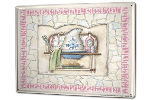 LEotiE SINCE 2004 blikken bord wandbord 30x40 cm vintage retro metalen plaat retro tandenborstel spons zeep