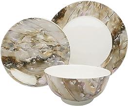 مجموعة أدوات المائدة من تراكستون طبق للعشاء، طبق السلطة، وعاء الحساء - مجموعة من 12 قطعة