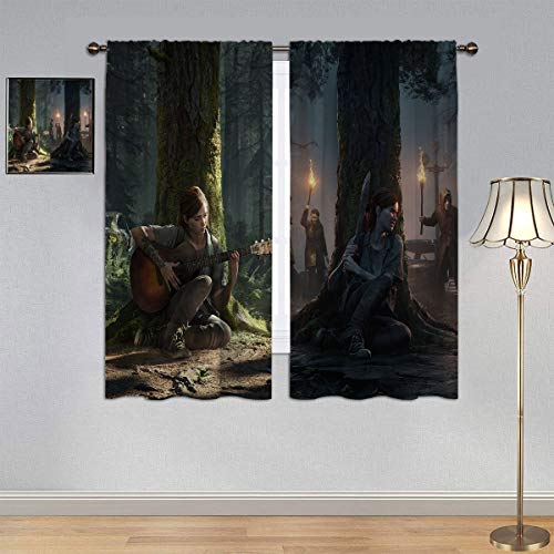 GY Blackout Window Draperies The L_AST of Us Part 2 Curtains, Game Art Ellie Window Curtain Fabric for Bedroom/Living Room 55x63 Inch