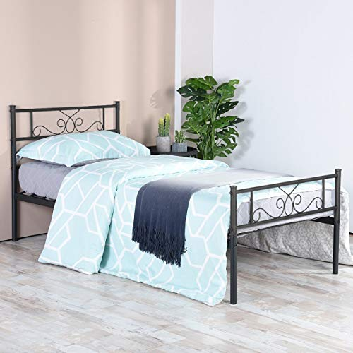 SimLife Platform Kids Adults No Box Spring Support Needed Easy to Put Together Black Twin Size Bed Frame with Headboard and Footboard Mattress Foundation