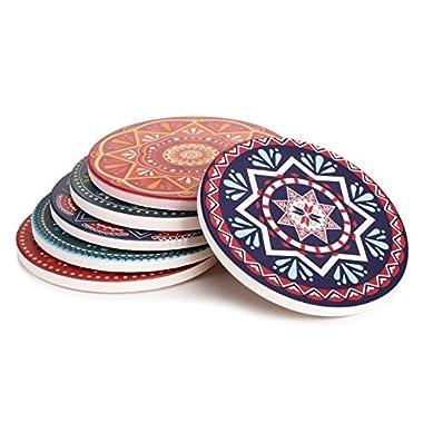 Lifver 6-Piece Absorbent Stone Coaster set,  drink  spills coasters, Mandala Style