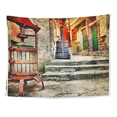 AOCCK Wandteppiche, Tapestry Wall Hanging City Old Streets of Italian Villages Flower Spain Greece Travel Vintage Crete 60