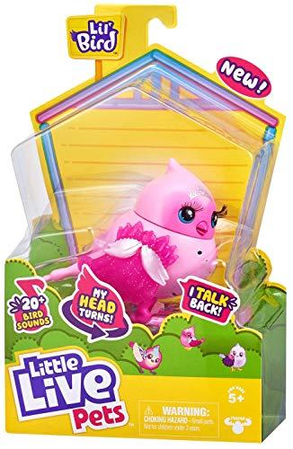 Little Live Pets Lil' Bird – Tiara Tweets – Paquete Individual de pajarito Cabeza móvil, más de 20 Sonidos de Aves, reacciona al Tacto (Moose Toys 26028)