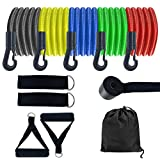 Kinghan Fitness Resistance Bands Set, Stackable up to 150 lb, Exercise Bands with Handles, Training Tubes with Door Anchor & Ankle Straps for Resistance Training, Physical Therapy, Home Workout