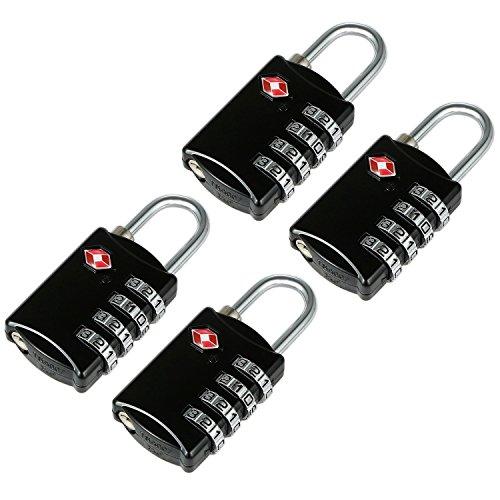 4 Schwarze TSA Reiseschlösser Gepäckschlösser mit 4-stelligen Zahlencode