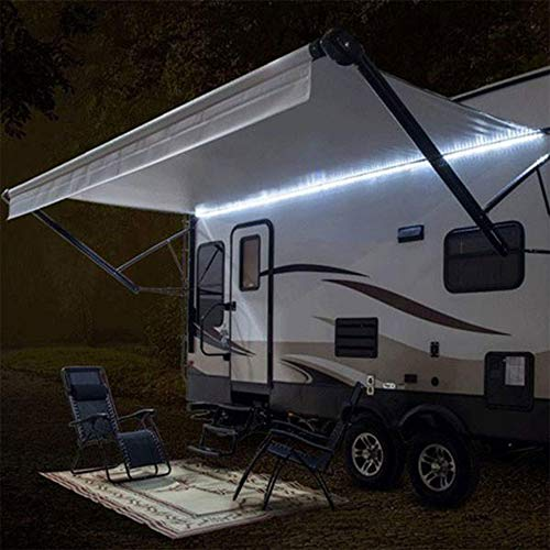 RecPro RV Camper Motorhome Travel Trailer 20' White LED Awning Party Light w/Mounting Channel & White PCB 12v Light