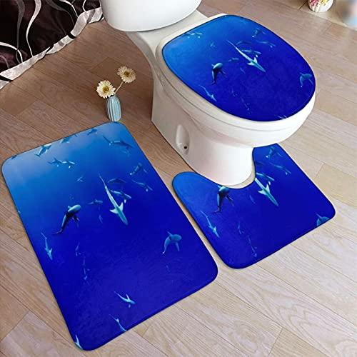 VINISATH Set 3 Pezzi Tappetino da Bagno,Squali Che Si radunano nelle profondità dell'Oceano,Tappetino WC Antiscivolo Tappeto Decorazione per Toilette Bagno