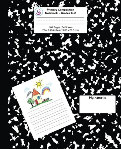 Primary Composition Notebook: Black Marble, Grades K-2 Kindergarten Writing Journal (Draw & Write Exercise Books)