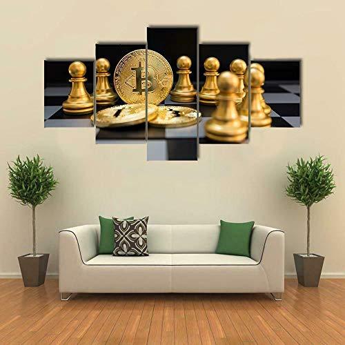 HFDSA Colores Cuadro En Lienzo Imagen Gold Bitcoin and Chess Board 5 Piezas HD Lienzo Arte De La Pared Imágenes Salón Decoración Modular Wall Innovador Regalo