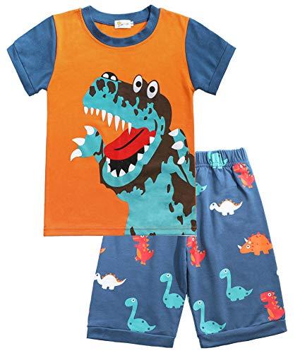 Tarkis Jungen Baumwolle Schlafanzug Kurzarm- Pyjama, 06 Blau (Dinosaurier), Gr.-116 (Herstellergröße: 130)