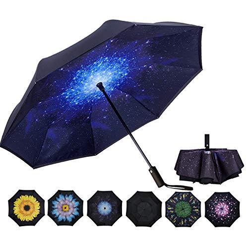 VIWIN VELA Inverted Automatic Umbrella Double Layer Windproof Reverse Folding Umbrella for Car Travel Men Women Starry Sky