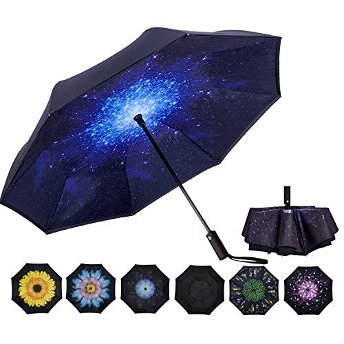 VIWIN VELA Inverted Automatic Umbrella Double Layer Windproof Reverse Folding Umbrella for Car Travel Men Women Starry...