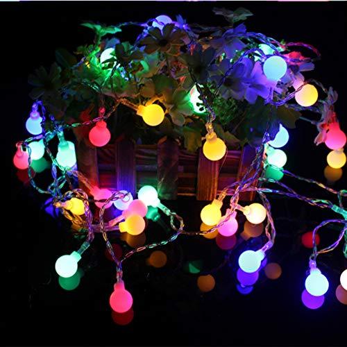 WSJKHY Kerstverlichting voor op vakantie, sneeuwvlokken, lichtsnoer op batterijen, hangende ornamenten, kerstboom, nieuwjaar, huisdecoratie, navidad Ball Duo 1m 10LED