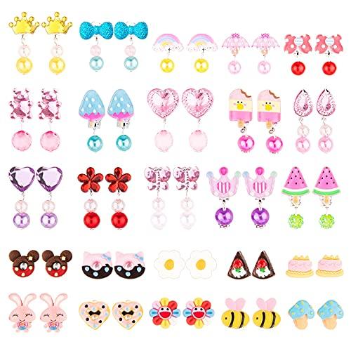 Hdiefei - Set di 25 paia di orecchini a clip per ragazze con scatola a forma di fiore, orecchini a clip da principessa, design senza foro, accessori per gioielli, graziosi orecchini a clip