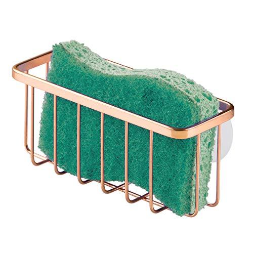 iDesign Estropajero, pequeño organizador de fregadero de metal con revestimiento resistente, porta estropajos para cocina, color cobre
