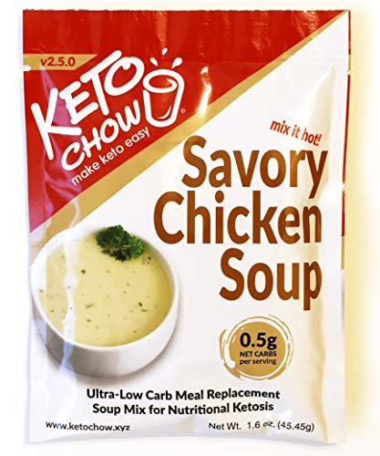 Keto Chow | Savory Gourmet Keto Meal Replacement | Nutritionally Complete | You Choose the Fat | Easy Fast Low Carb Meal | Chicken Soup | Single Meal Sample