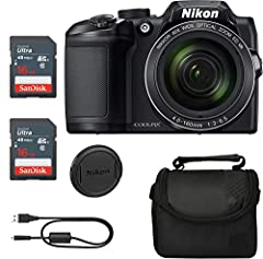 """16MP 1/2.3"""" BSI CMOS Sensor 22.5-900mm (35mm Equivalent) NIKKOR f/3.0-6.5 ED Lens 40x Optical Zoom Lens, 80x Dynamic Zoom Bundle Includes: Nikon B500 Camera Black, Camera Case (Case may vary from picture), 2X Toshiba 16GB Memory Card, Crystal Flash S..."""