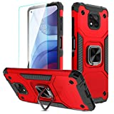for Moto G Power 2021 Case, Yunerz Armor Protective Case with Magnetic Ring Kickstand, with Screen Film and Camera Lens Film, Shockproof Absorption Case for Moto G Power 2021 6.6inch (Red)