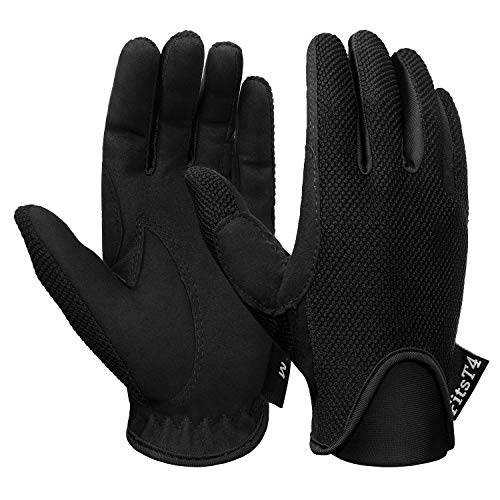 FitsT4 Horse Riding Gloves Equestrian Horseback Riding Gloves Equestrian Outdoor Breathable Stretchable Horse Show Glove for Kids Youth Black S