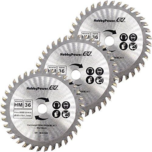Mini Handkreissäge 3er-Set HM Sägeblatt Holz Ø 85x10mm 36 Zähne passend für Aldi Duro/Lidl/Norma
