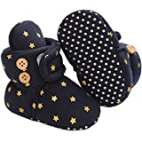Tcesud Unisex Baby Boys Girls Cozy Fleece Winter Warm Snow Boots Knit Soft Fur Newborn Infant First Walkers Slippers Shoes(12-18 Months,Black)