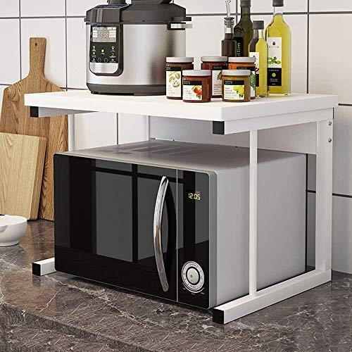 2-Tier Baker's Rack Microwave Oven Rack, Kitchen Counter Storage Organizer, Printer Shelf Fax Rack for Living Room Office, White