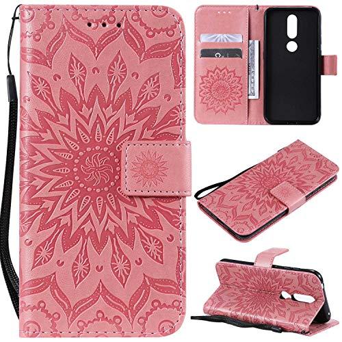 KKEIKO Hülle für Nokia 4.2, PU Leder Brieftasche Schutzhülle Klapphülle, Sun Blumen Design Stoßfest Handyhülle für Nokia 4.2 - Rosa