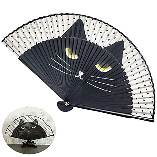Ventilador de Seda Plegable Negro Abanico Plegable Estilo Vintage para Bodas, decoración...
