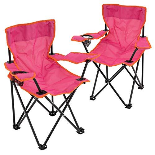 Nexos 2er Set Kinder Klappstuhl Campingstuhl Angelstuhl Gartenstuhl Strandstuhl Faltstuhl Sonnenstuhl mit Sicherung in Pink 62 x 56 x 35 cm