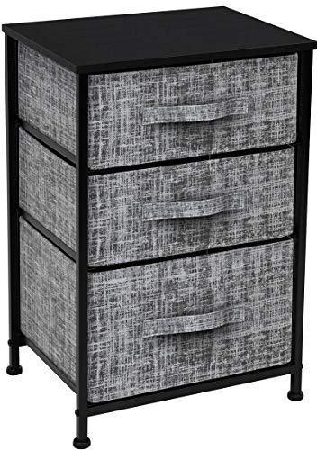 Sorbus Nightstand with 3 Drawers - Bedside Furniture & Accent End Table Chest for Home, Bedroom Accessories, Office, College Dorm, Steel Frame, Wood Top, Easy Pull Fabric Bins (Gray/Black)