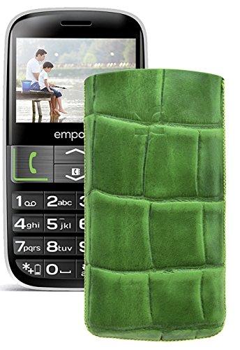Original Suncase Tasche für / Emporia EUPHORIA V50 / Leder Etui Handytasche Ledertasche Schutzhülle Hülle Hülle - Lasche mit Rückzugfunktion* In Croco-Grün