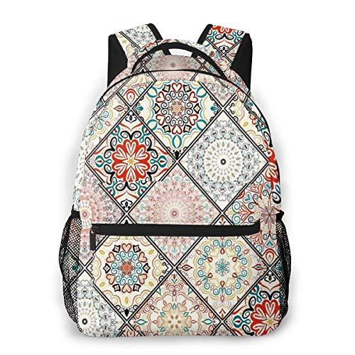 Rucksack Männer und Damen, Laptop Rucksäcke für 14 Zoll Notebook, Orientalisches Blumenmandala Kinderrucksack Schulrucksack Daypack für Herren Frauen