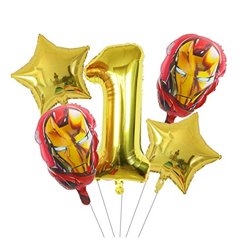 JSJJAES Balloons 5pcs Spiderman Iron Man Foil Balloons Helium Balloon 30inch Number 0-9Th Birthday Party Decorations Kids Toys (Color : 1)