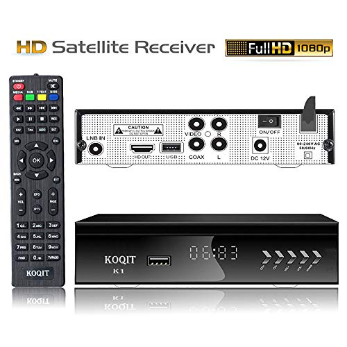 KOQIT Free to Air FTA HD Digital Satellite TV Receiver Built-in Galaxy 19 97W Satellite Receiver DVB-S2 Digital Tv Box DVB-S2/S Clear TV Tuner Sat Decoder/USB WiFi/YouTube/EPG/PVR Recording to USB