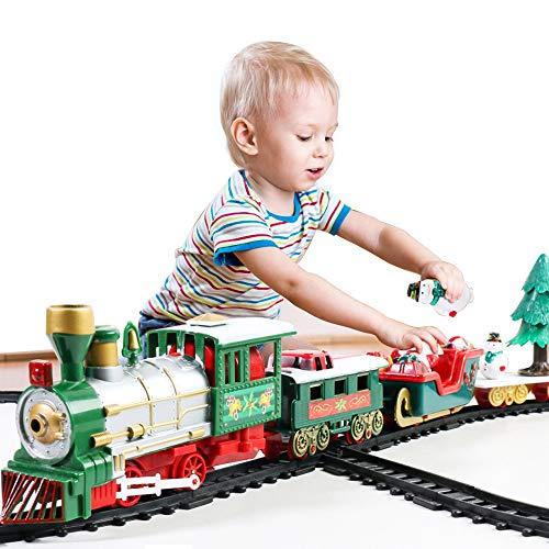 Finoki Weihnachten Eisenbahn mit Lokomotive Weihnachtszug Mini Zug Elektrische Eisenbahn Weihnachten Spielzeug Geschenk